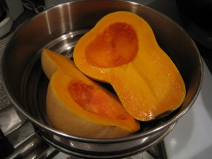 Steaming squash in a pan
