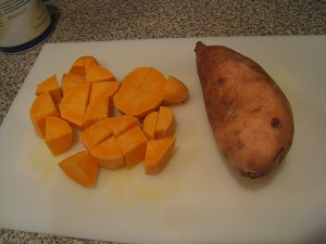 Cut sweet potatoes into cubes
