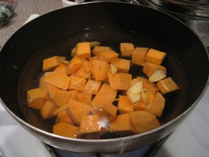 Add sweet potato to the pot